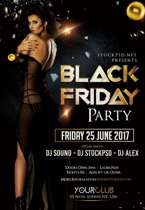 black friday party free psd flyer template mock ups logos and