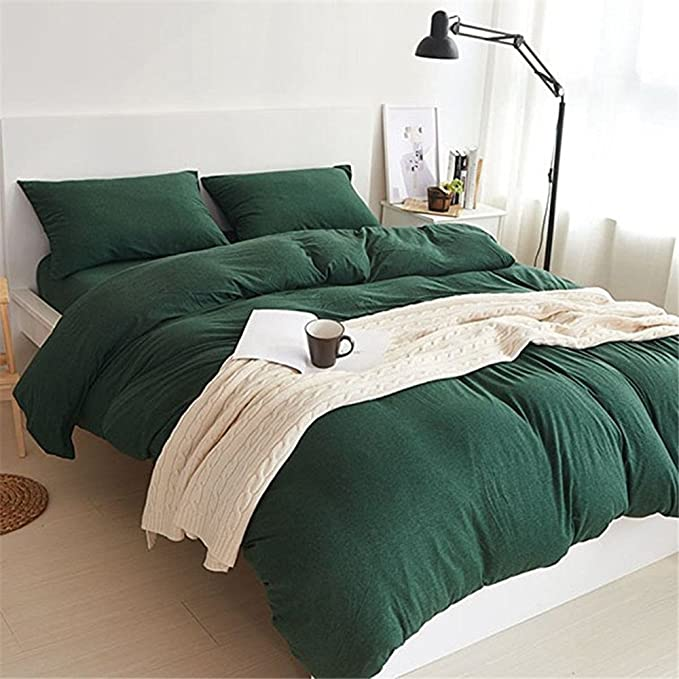 Amazon Com Yamfei Luxury Jersey Cotton Solid Emerald Green Duvet Cover Set Queen Size 3 Pieces Bedding Comforter In 2020 Green Duvet Covers Green Duvet Green Bedding