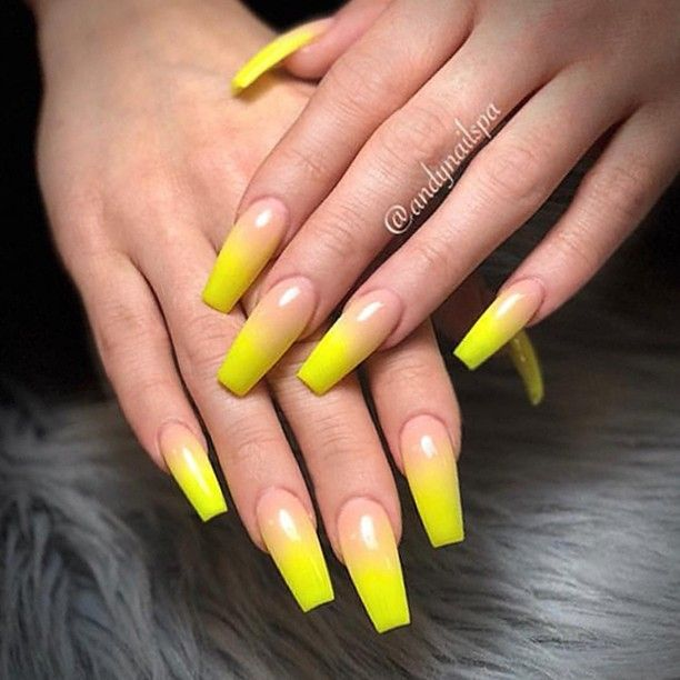 Repost Yellow Ombre On Long Coffin Nails Picture And Nail Design By Andy Coffin Nails Long Yellow Nails Design Acrylic Nails Coffin