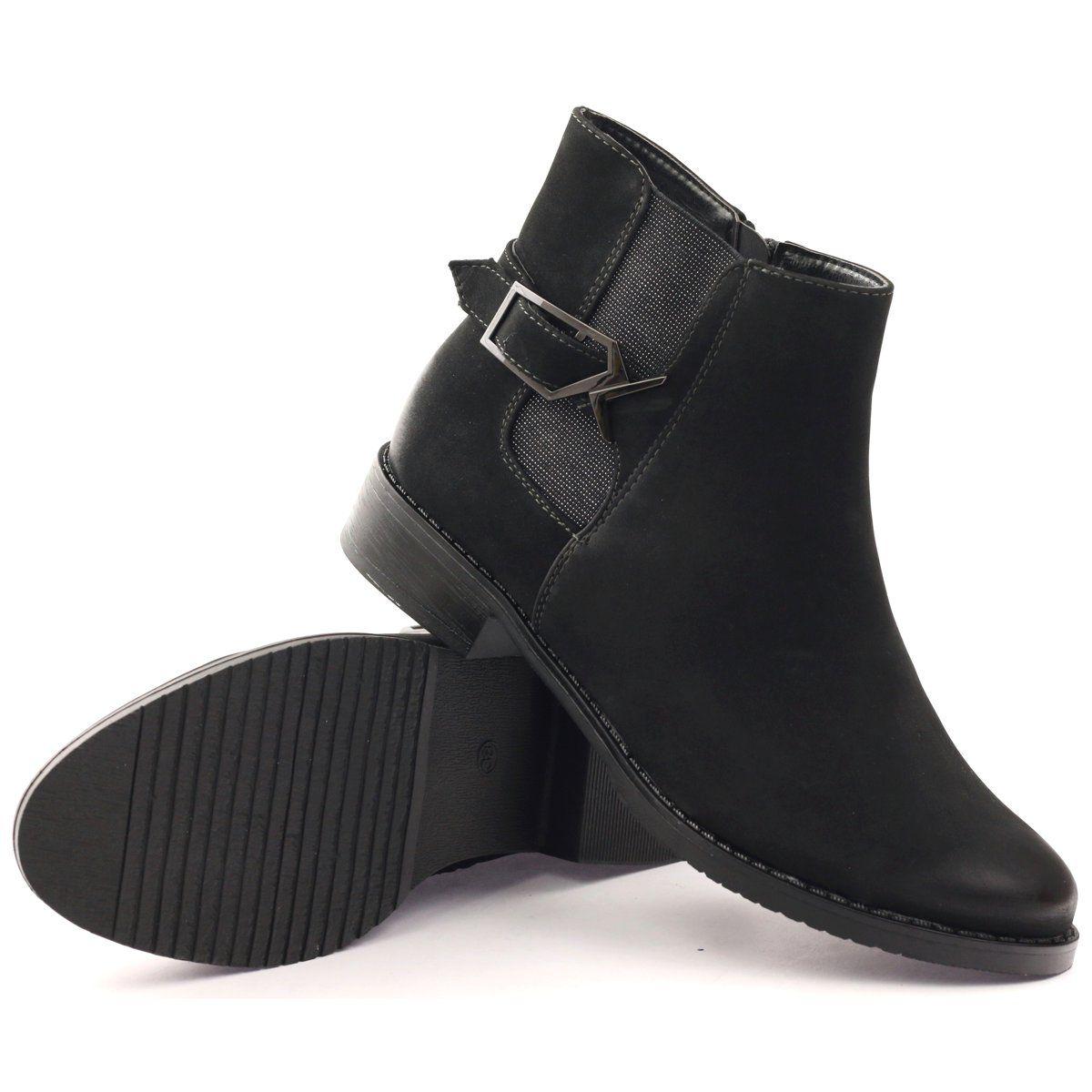 Daszynski Botki Sztyblety Klamra Sa62 Czarne Shoes Women Heels Black Boots Jodhpur Boots