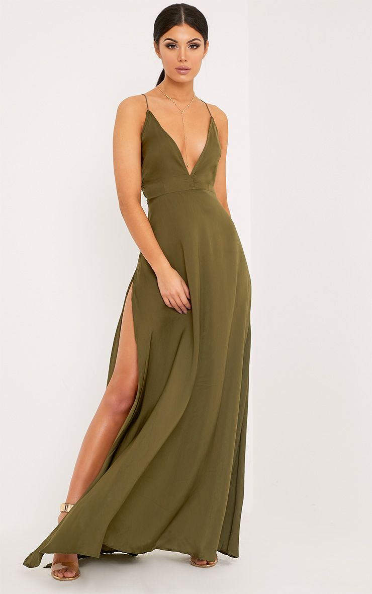 30bb6d0419 Khaki Extreme Split Strappy Back Maxi DressFeaturing lightweight, summer  perfect fabric and a fla.