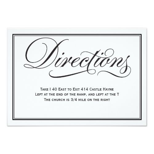 Black And White Calligraphy Wedding Directions Card
