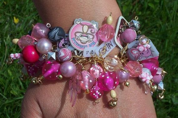 Pretty in Pink Charm/Junk Bracelet by ErikasChiquis on Etsy