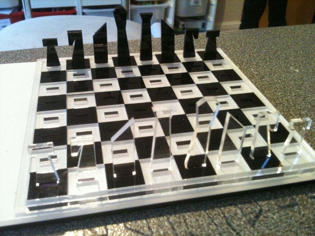 Laser cut travel chess set chess sets chess and product for Puzzle cutting board plans