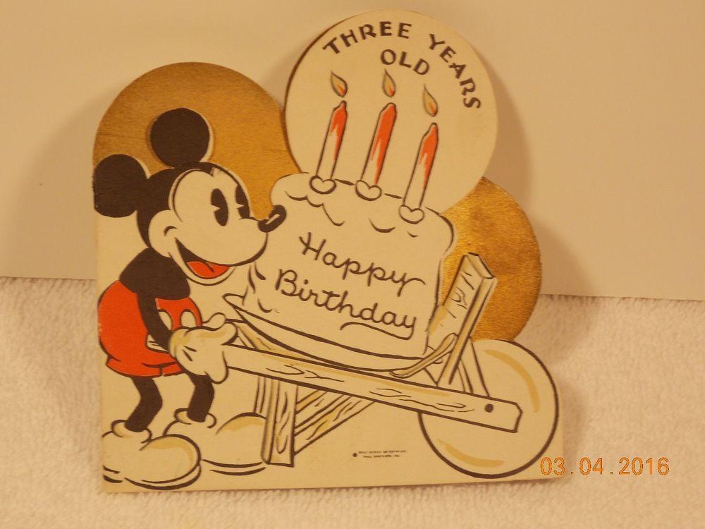 Mickey Mouse Disney Hallmark Birthday Card Vintage 1930 S Hallmark Birthday Card Disney Cards Vintage Birthday Cards