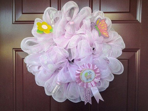 Baby Girl Deco Mesh Wreath (Small~15inches), Hospital Baby Wreath, Baby Shower, Deco Mesh Wreaths, Small Wreath, Mesh Wreath, Wreaths #decomeshwreaths