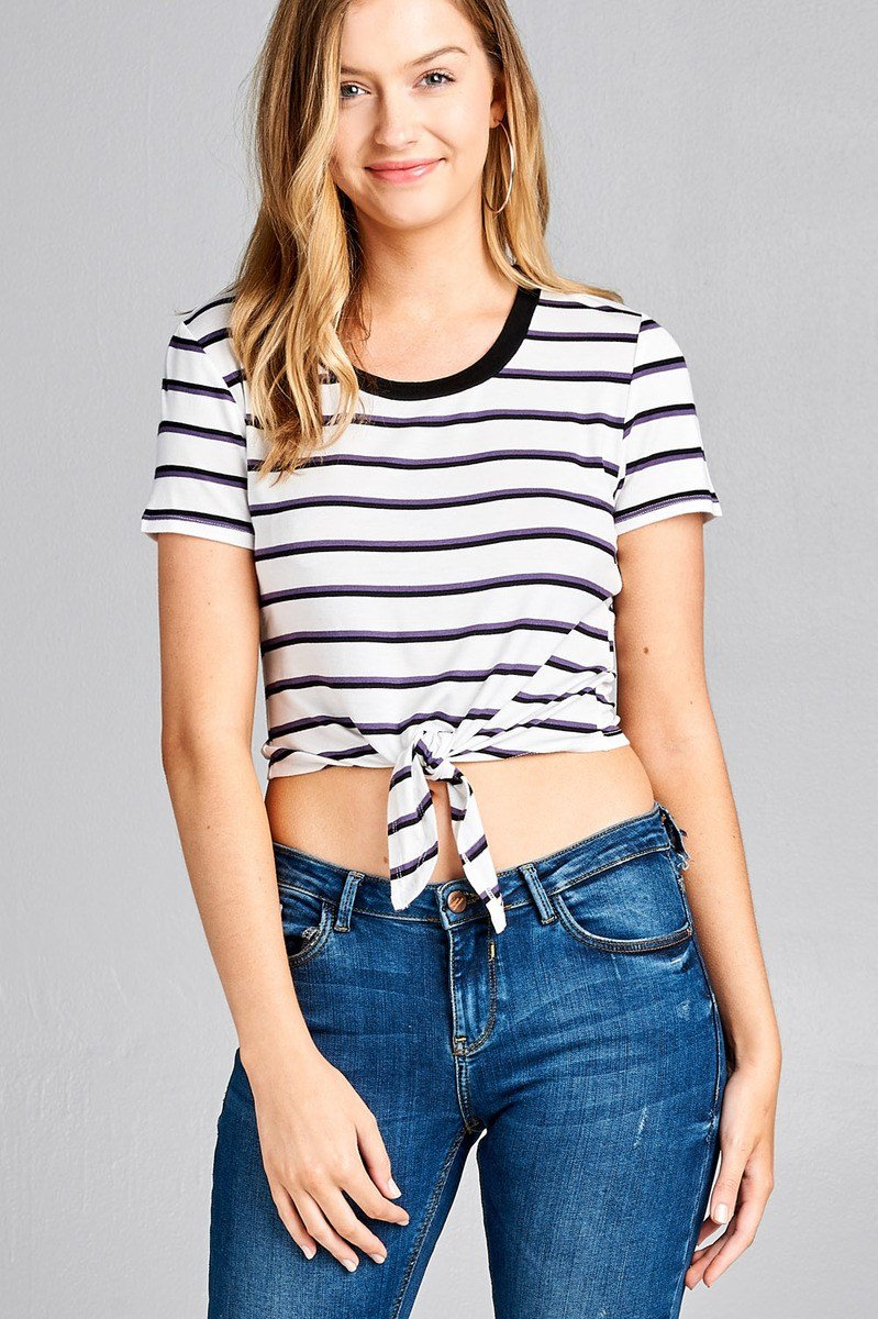 9a29d2e2df90c Ladies fashion short sleeve round contrast neck with knotted front cro –  Just Viva