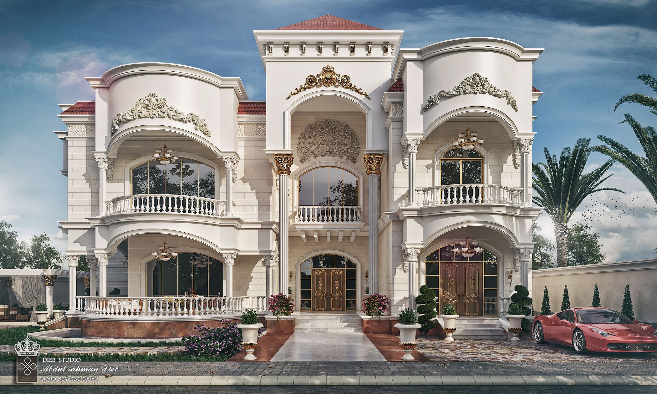 Villa Mr Fares In Uae On Behance Luxury Exterior Design Exterior Design Luxury Exterior