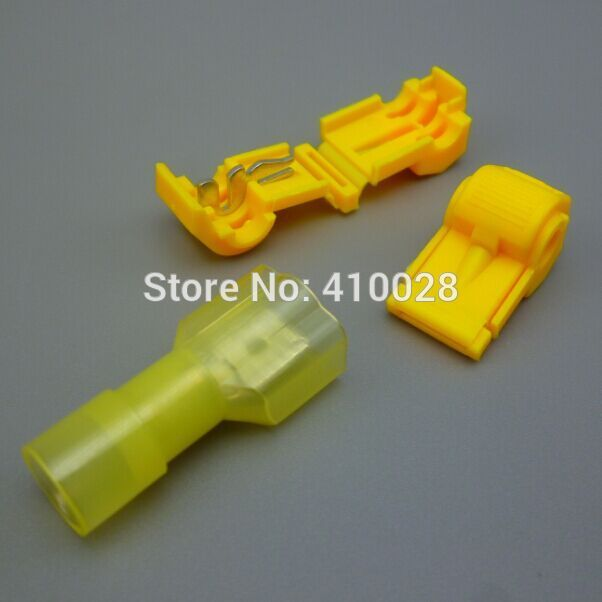 500sets=1000pcs Yellow 12-10 AWG T-TAPS & MALE WIRE CONNECTORS ...