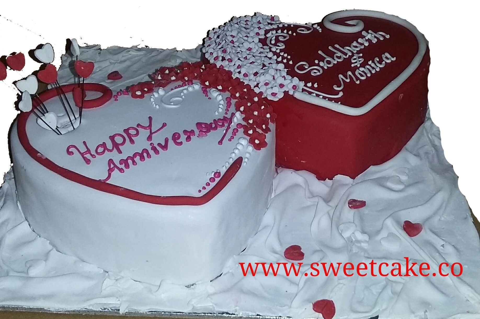 Custimse Fondant Double Heart Shape Cake 2kg With Images Heart