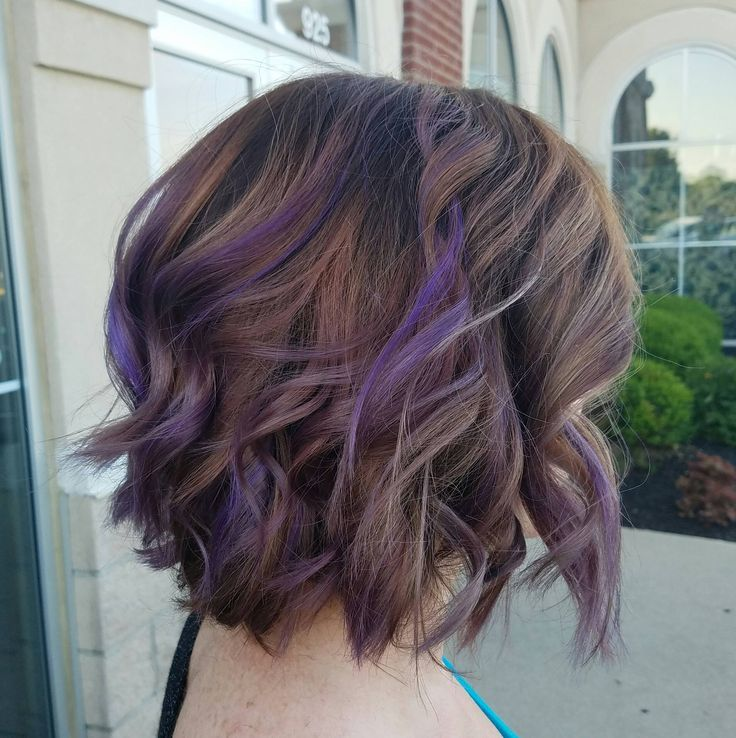 Brunette Balayage With Lavender Pieces Purple Ombre Hair Brown Hair Balayage Balayage Brunette