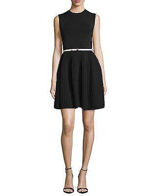 a1dff7212 Womens-Ted-Baker-London-Alicii-Black-Pink-Bow-Belt-Woven-Knit-Sleeveless- Dress-3