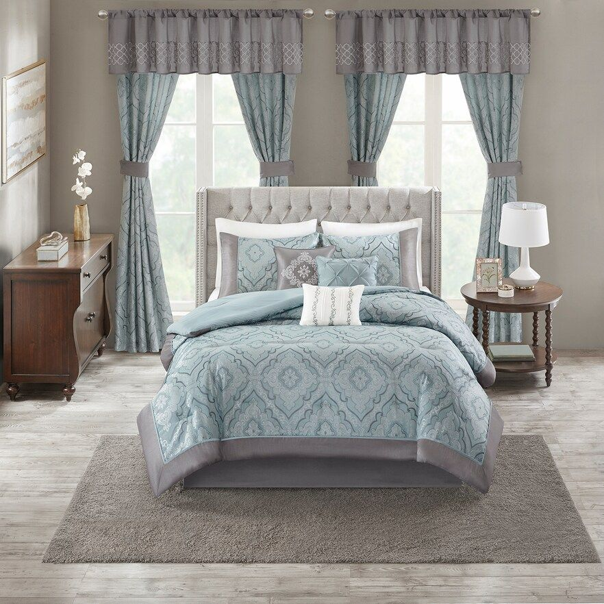 Madison Park Amberley Comforter Set Blue Cal King Comforter Sets Comforters How To Clean Pillows