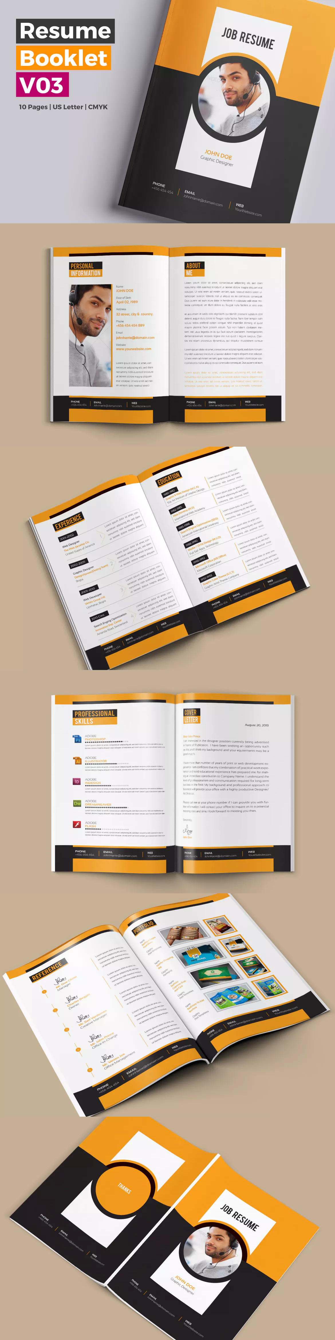 10 pages professional resume cv booklet template indesign indd