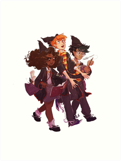 The golden trio in their first year at Hogwarts! • Also buy this artwork on wall…