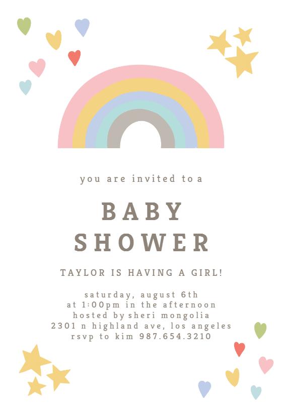 Hearts And Rainbows Baby Shower Invitation Template Free Greetings Island Rainbow Baby Shower Invitations Free Baby Shower Invitations Safari Baby Shower Invitations