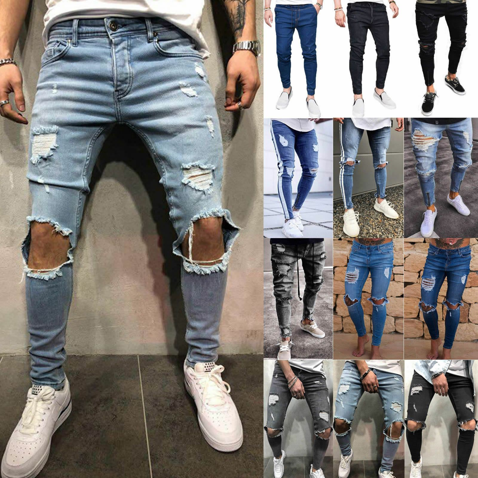 Men Stretch Jeans Ripped Skinny Jeans Destroyed Pants Frayed Slim Fit Denim Pant