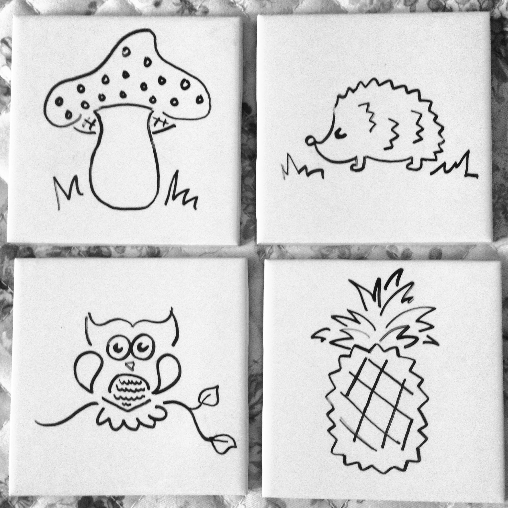 Diy coasters using 4x4 ceramic bath tiles sharpie ceramic diy coasters using 4x4 ceramic bath tiles sharpie ceramic weatherproof sealant and cork dailygadgetfo Images