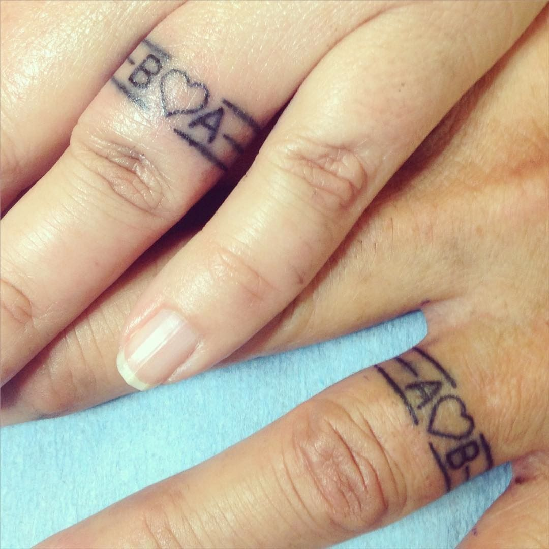 16 wedding ring tattoos we kind of love | initials, tattoo and