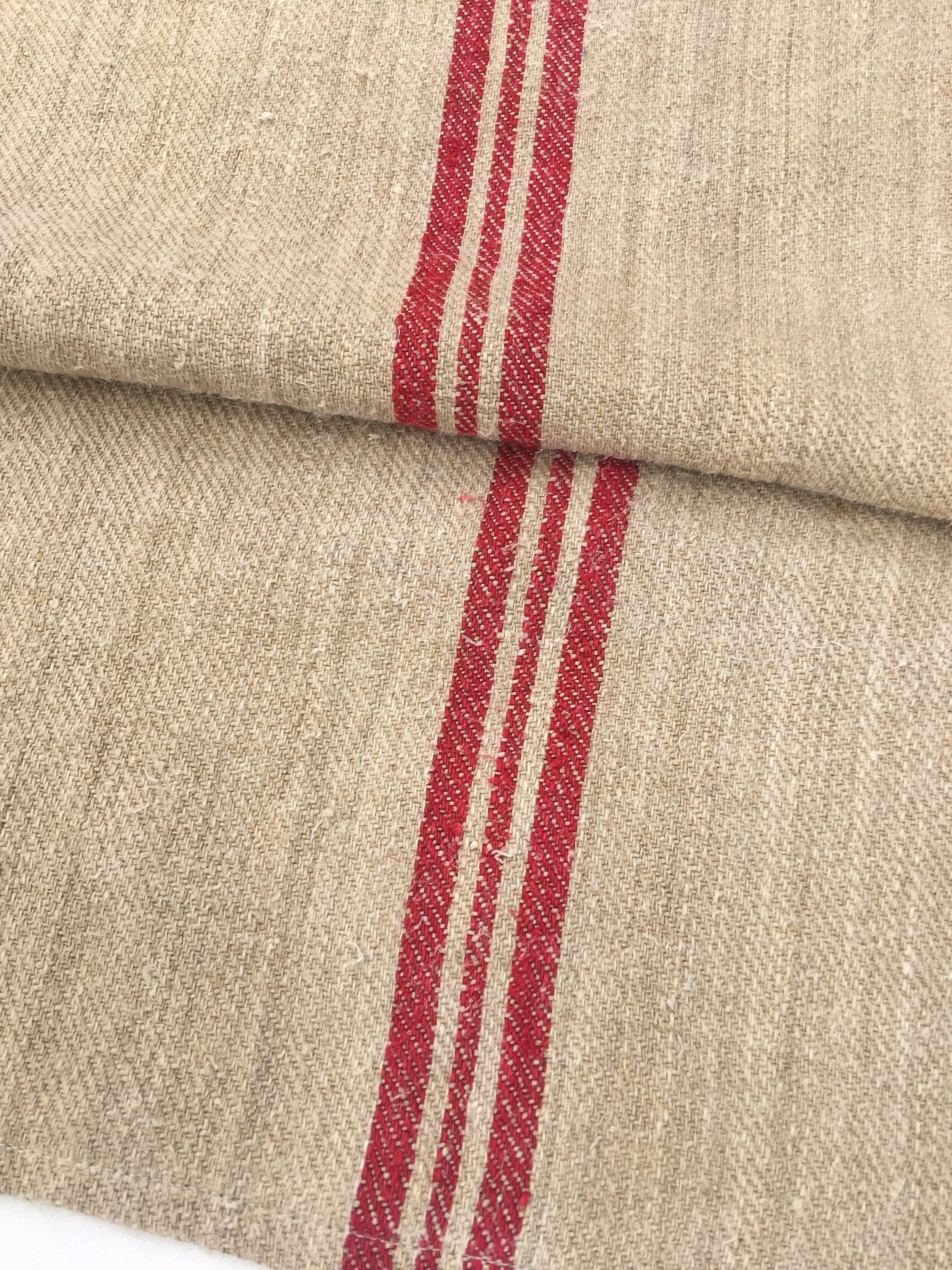 Antique European Hemp Grain Sack Beautiful Red Stripes with Blue//Green Stitching
