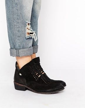 Buy Women Shoes / H By Hudson Peak Black Suede Woven Ankle Boots