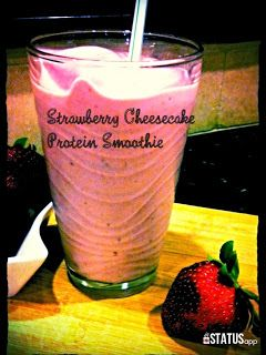 Strawberry cheesecake protein smoothie #healthytreats #fitfoods #indulgent
