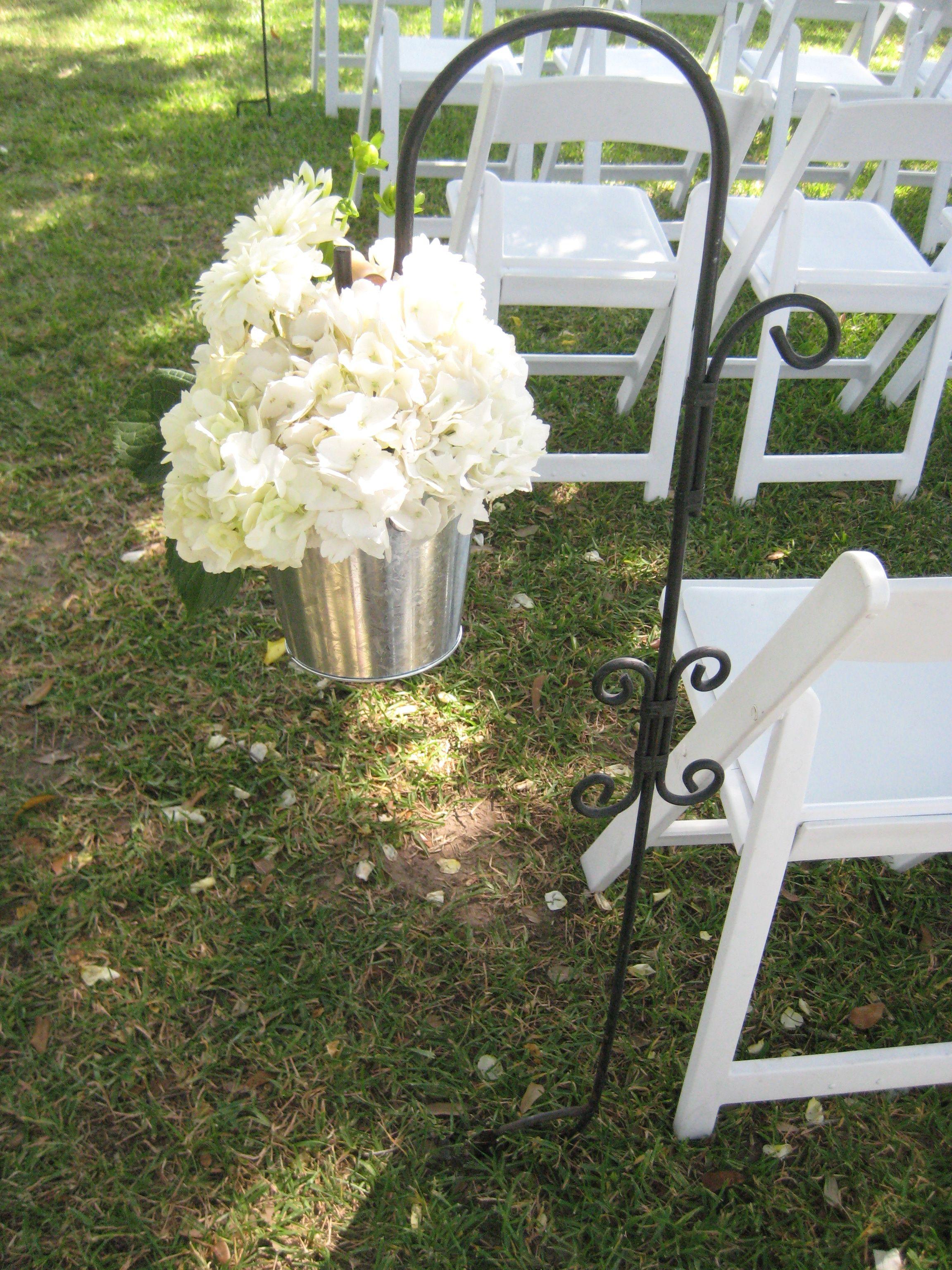 Shepherd S Hook With Pail Of White Hydrangea Wedding Walkway Hydrangea Centerpiece Wedding Entrance