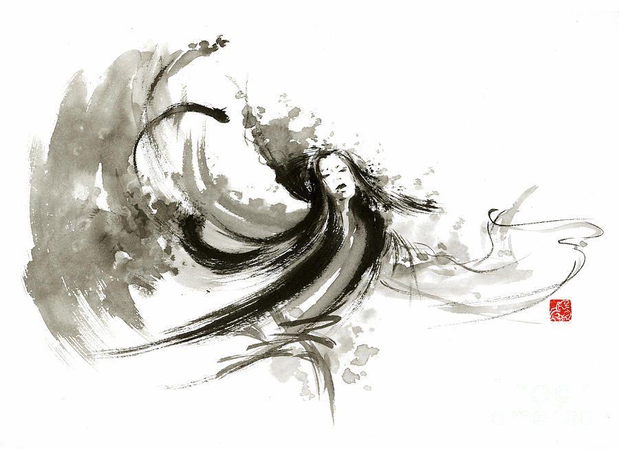 Geisha Dancer Dancing Girl Japanese Woman Original Painting By