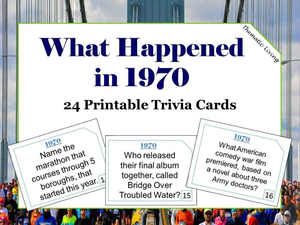 50th Birthday 1970 Trivia Cards Anniversary Games Etsy