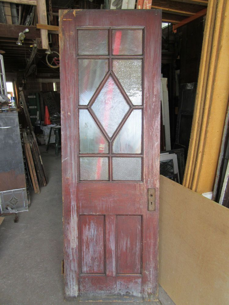 It is made of oak and is unpainted. I salvage whatever I can think can be  reused as long as there is room in my warehouse. - Antique Oak Door Unusual Design ~ 30 X 89 ~ Architectural Salvage