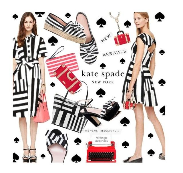 """""""Kate Spade"""" by pisces7 ❤ liked on Polyvore featuring Kate Spade, stripes, blackandwhite and katespade"""
