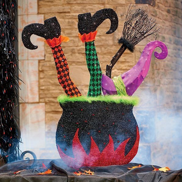 Witch Legs with Cauldron Outdoor Halloween Decoration Witch legs - halloween decorations witch