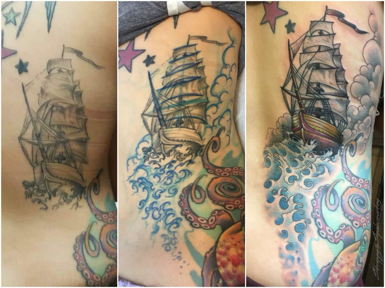 Fix up and add on. #tattoosbyskrappy #skrappyatspidermonkey #fixup #addon #ship #waves #clouds #tattoo #tattoo #coverup #olympiaartist
