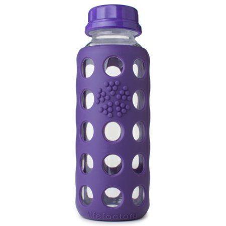 Lifefactory 9 Ounce Glass Beverage Bottle Purple Glass Purple Glass Water Bottle