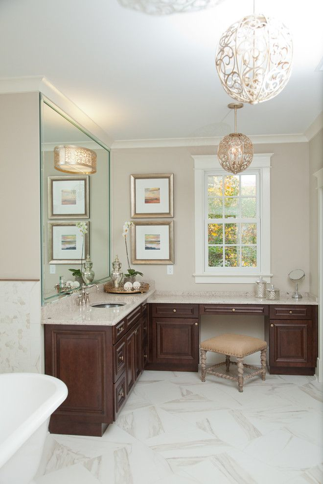 Brown Bathroom With L Shaped Vanity In Brown Top Brown