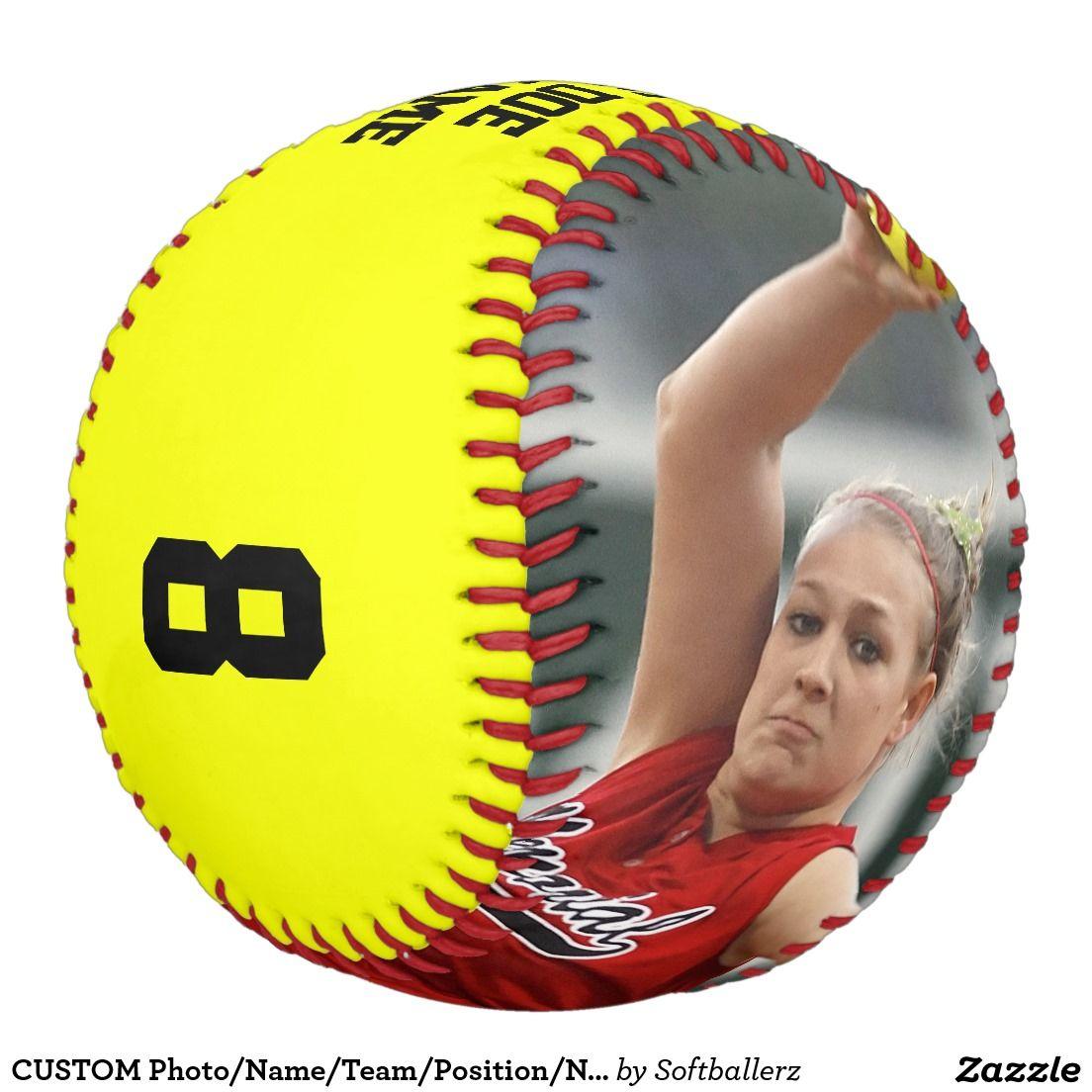 CUSTOM Photo/Name/Team/Position/Number Softball Zazzle