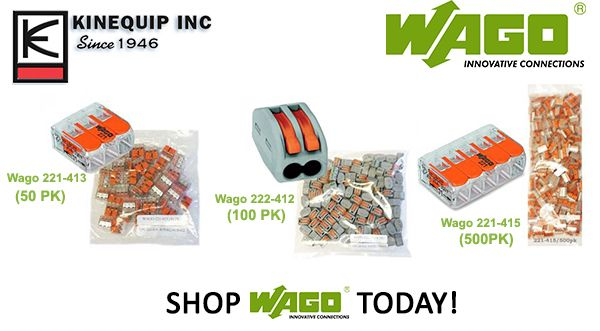 Kinequip now offers 50pk, 100pk, and 500pk Wago 221's and 222's. The more you purchase the greater the savings. Shop Wago Today!