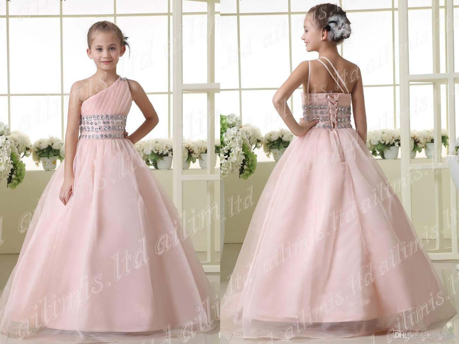 Pink Flower Girl Dresses Kids Wedding Dresses One Shoulder Sweep ...