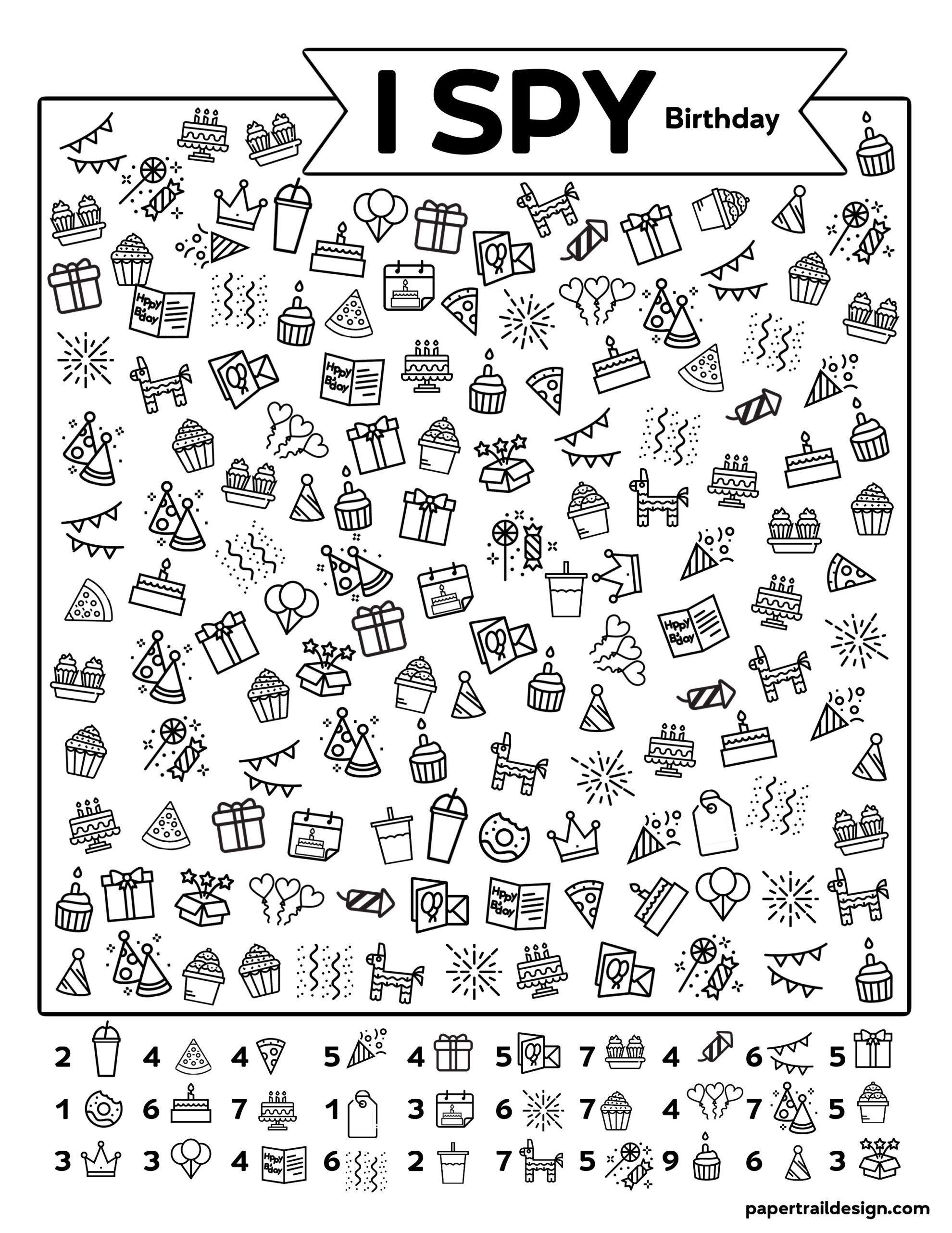 Free Printable I Spy Birthday Activity