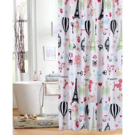 Mainstays Kids I Love Paris Shower Curtain