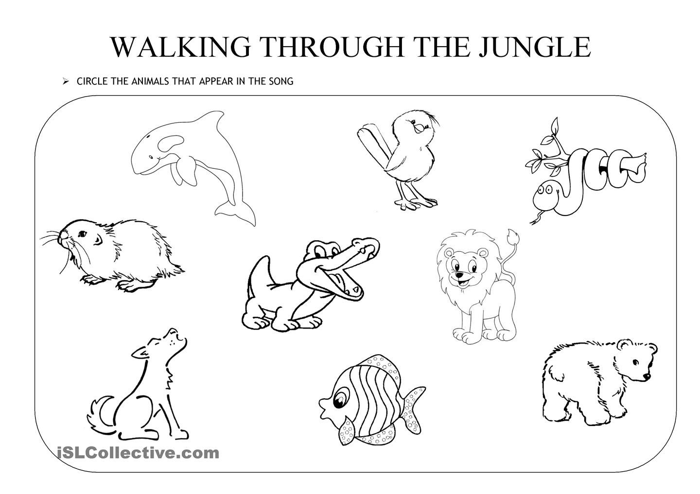 WALKING THROUGH THE JUNGLE. an activity to go with the \