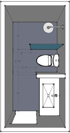 Photo of Plan of a small bathroom with proposed equipment