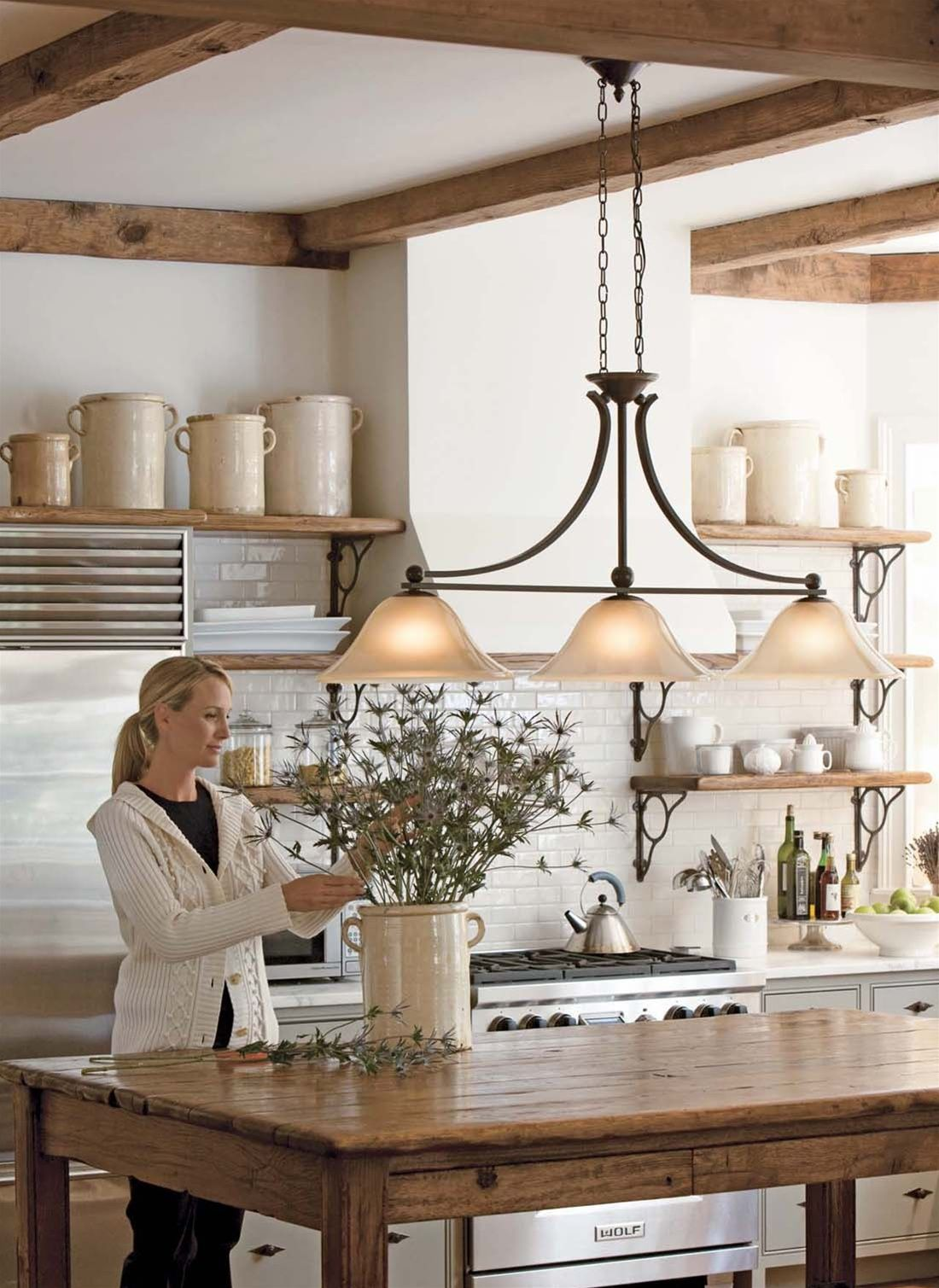 island chandelier lighting. Love The Island Light! Farmhouse Kitchens Design, Pictures, Remodel, Decor And Ideas - Page 46 Chandelier Lighting A