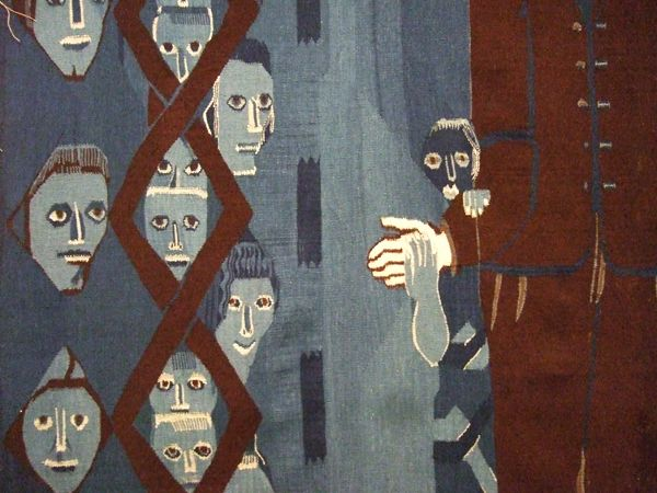 detail from a tapestry by Hannah Ryggen (1894-1970) a self-taught weaver, translating the claustrophobic feeling of war and destruction into remarkable woven cloths. She commented on Fascism and Nazism's emergence in Europe in the inter-war years, and Norwegian politics in the post-war years.