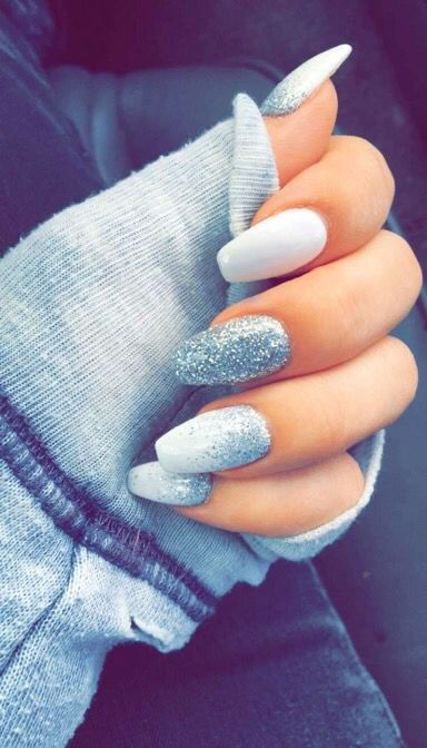 White And Silver Coffin Nails Nail Designs Pinte