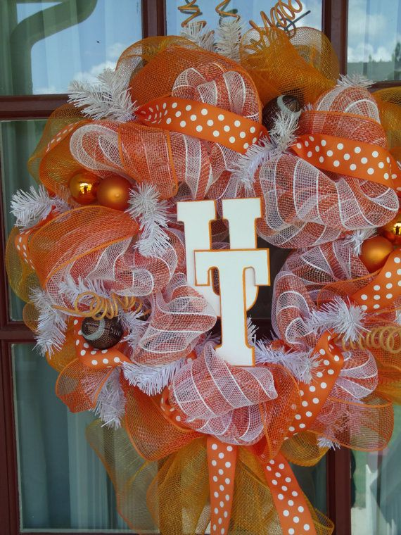 Tennessee Fan Deco Mesh Door Wreath by CrazyboutDeco on Etsy, $69.00