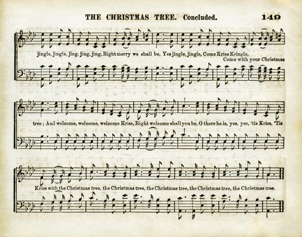 vintage sheet music, aged music page, old christmas song, christmas ...