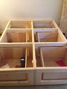 Platform Bed With Drawers Rangement Sous Lit Tiroirs Sous Lit Lit Plateforme