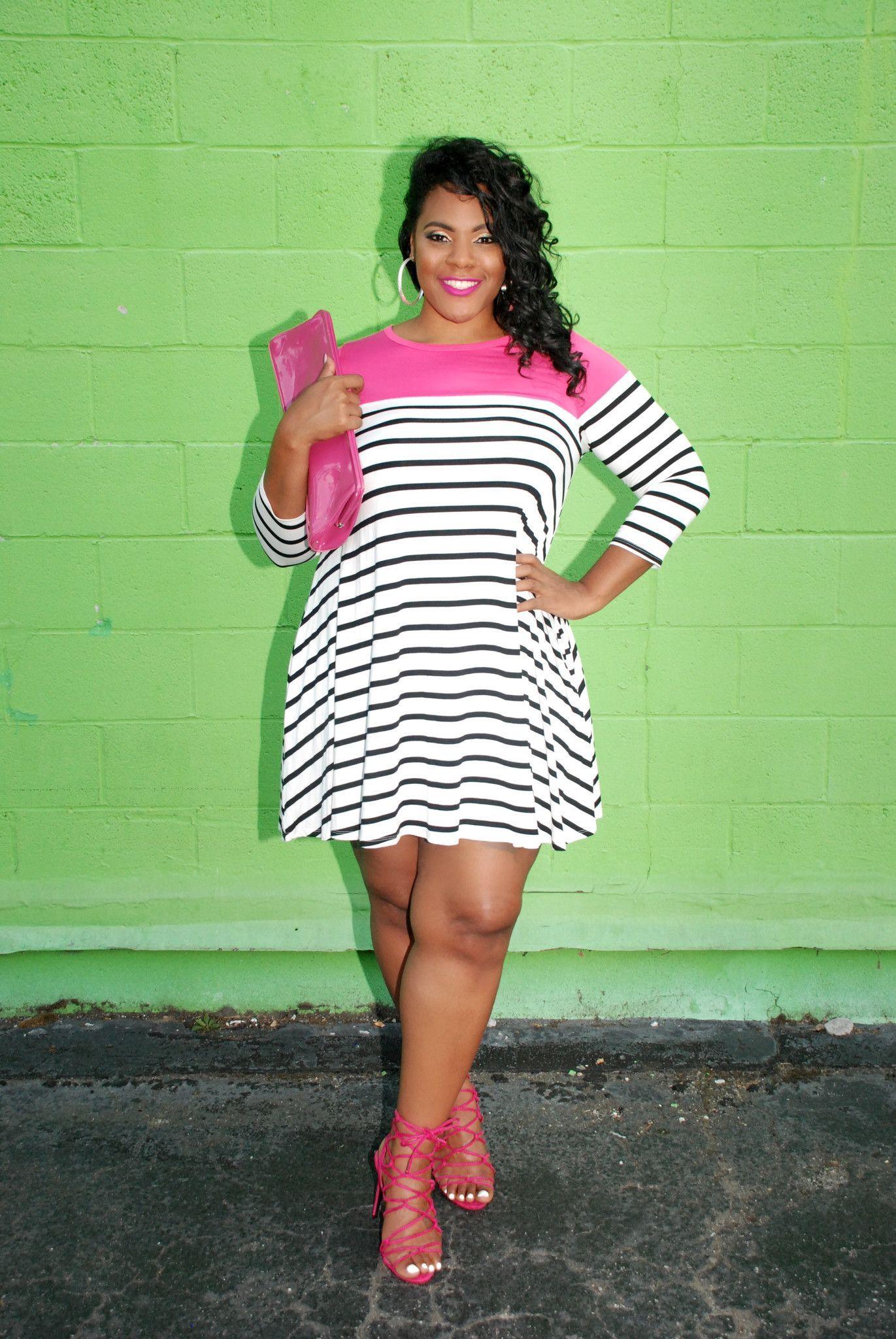 Plus Size Clothing For Women Sailing Stripes Dress Fuchsia
