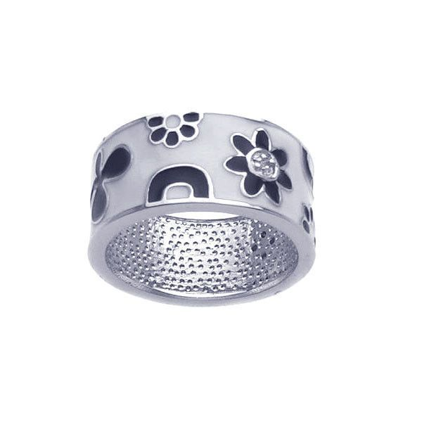 .925 Sterling Silver Rhodium Plated White Black Enamel Flower Ring